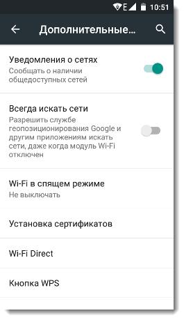 выбор Wi-Fi