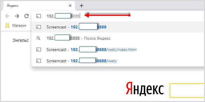 ввод IPв браузер