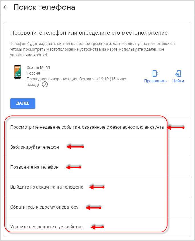 действия по управлению телефоном